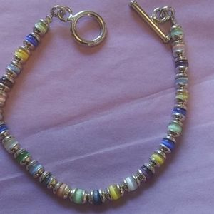 Multi-colored stone and Sterling Silver Bracelet